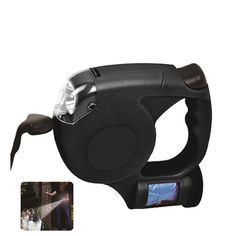 LED Retractable Pet Leash with Waste Bag Dispenser - Walk Your Dog with Added Safety at Night! - Built-in Super Bright LED Lights - Retractable Leash Extends to Over 13 feet - Battery Operated (2 AA Not Included) - Waste Bag Dispenser - Roll of Waste Bags - High Quality, Light Weight and Durable - Thumb Locking Mechanism