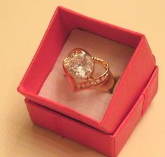 Yellow Gold Plated Ring Womens Girls White Topaz Gemstone Solitaire Heart Size 7 #Unbranded #Solitaireheartring