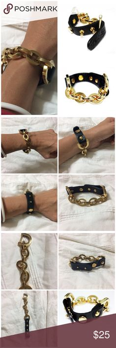 Half Gold Chain Leather Cuff Bracelet NWOT Spice up your outfit with this unique bracelet. Gold plated leather cuff bracelet will be a focal point of any occasion. Jewelry Bracelets