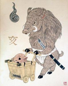 ヒグチユウコ個展企画 CARNIVAL 、本日最終日です。よろしくどうぞお願いいたします。→干支獣画「亥」