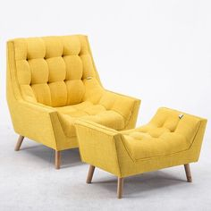 Culbertson Armchair and Footstool Laurel Foundry Upholstery Colour: Yellow Home decor adds personality to space, it injects your own personal touch while making your home original, cozy and welcoming for you and your family. Living Room Carpet, Living Room Grey, Living Room Chairs, Living Room Decor, Living Rooms, Swivel Recliner, Wingback Chair, Yellow Home Decor, Art Deco