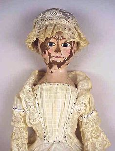 Antique Queen Anne Wooden Doll w Old Clothing Hair Wig C 1740 | eBay