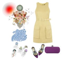 """""""Yellow and Purple"""" by juliehalloran ❤ liked on Polyvore featuring Topshop, Boden and Bottega Veneta"""
