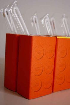Cover juice boxes so they look like Lego bricks. | How To Throw The Ultimate LEGO Birthday Party