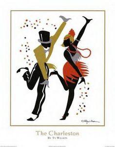 Colorful vintage 1920's posters of Paris nightlife.