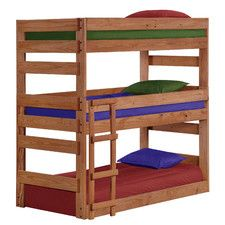 Features:  -With 2 under bed drawers.  -Child-safe.  -Bunk bed model has been tested by an independent laboratory.  -Solid Brazilian pine - no particle board.  -Built-in stairway instead of ladder for