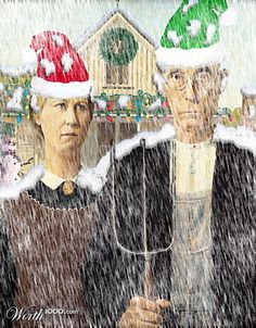 fuzzy memory of the three French.well, there is a stag crashing a British hen party joke floating somewhere nearby, but I will refrain (lol) American Gothic Painting, American Gothic Parody, American Art, Mona Friends, Grant Wood, Famous Artwork, Geek Humor, Pop Art, Gothic Art