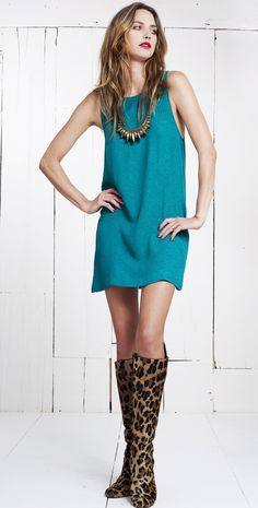 The perfect mini shift dress.  Made from deadstock silk fabric sourced in the USA.-VINTAGE INSPIRED, GREAT SIMPLE LOOK.  TEAL MINI DRESS, STATEMENT NECKLACE, SIMPLE HAIR, & ANIMAL PRINT KNEE HIGH BOOTS