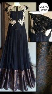 What can be best than wearing this black floor length anarkali suit with duptta and bottom on a special occasion or wedding. net material is beautified with resham and embroidery work. Any color combination is possible. Can be made in large sizes also. This is a custom made design which can be made in any color and size...