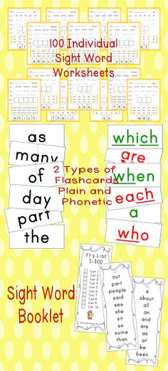 Fry 1-100 Sight Word Unit... booklet, word wall and/or Flashcards, and 100 individual worksheets!