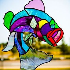Multi-Colored Largemouth Bass Stained Glass Art by Trish York