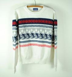 Mens Authentic Vintage 70s NORDIC Knitted SKI Sweater. Made in ROMANIA. (Medium)