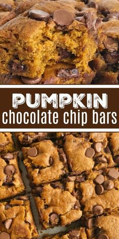 Pumpkin Chocolate Chip Bars — super soft-baked, cake-like, moist and loaded with milk chocolate chips. This recipe uses an entire can of pumpkin so there will no wondering what to do with the leftovers. Pumpkin Chocolate Chips, Dessert Chocolate, Pumpkin Brownies, Desserts With Chocolate Chips, Pumpkin Blondies Recipe, Pumpkin Spice Cookies, Chocolate Chocolate, Pumpkin Applesauce Recipe, Pumpkin Chocolate Cheesecake