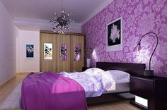Bedroom. Spectacular and Elegant Purple Bedroom Ideas. Floral Accent Wall Purple Bedroom Idea with Wall Mounted Rectangle Wooden Black Platform Bed and Wall Mounted Rectangle Wooden Black Headboard Bed and also Freestanding Wooden Brown Square Corner Three Doors Wardrobe plus Wall Mounted Wooden White Black Square Double Nightstands with Rectangle White Pillows and Purple Blanket and also Rectangle Beige Rug