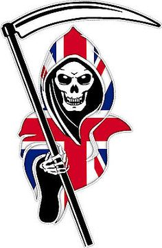 1 x Racing Grim Reaper Flag Sticker printed on high quality digital vinyl. Fits to any smooth non porous surface. Rangers Football, Rangers Fc, England Flag Wallpaper, St George Flag, Remembrance Day Art, Smoke Painting, Tiger Artwork, Wicked Tattoos, Truck Stickers