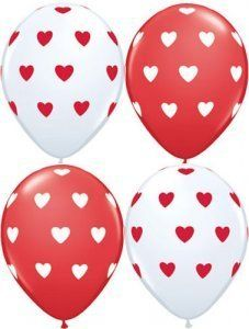 12 Red and White Balloons with mini Hearts by Qualatex. $5.29. You will receive 6 red balloons with white hearts and 6 white balloons with red hearts - perfect for a girl or woman's birthday party, engagement party, wedding shower or wedding.