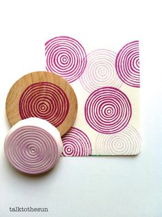 circle rubber stamp. hand carved stamp. hand by talktothesun