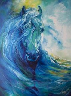 """BLUE GHOST OCEAN EQUINE"" by Marcia Baldwin: An original equine oil painting by Marcia Baldwin. // Buy prints, posters, canvas and framed wall art directly from thousands of independent working artists at Imagekind.com."