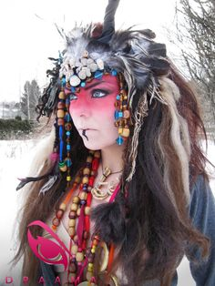 Shaman woman headdress headpiece fantasy costume. €85.00, via Etsy.