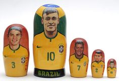 5 piece matryoshka doll set, featuring different famous Brazil football team players. This set is made by hand in Russia. It is made of linden wood and then painted by a professional matryoshka doll a