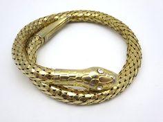 Gold Mesh Snake Bracelet  Metal Serpent Bangle by VintageInBloom, $32.00