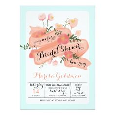 Peach and Mint Vintage Floral Banner Bridal Shower Personalized Invitations. Artwork designed by Jujulili