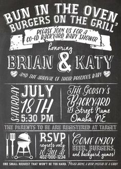 Backyard Co-Ed BBQ Baby Shower Chalkboard Print by jojosdesigns