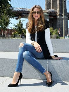 Olivia Palermo, b&w&jeans. #op #style #autumn #winter #jeans #b&w #heels #girly   | 29 Times We Wished We Could Trade Wardrobes With Olivia Palermo