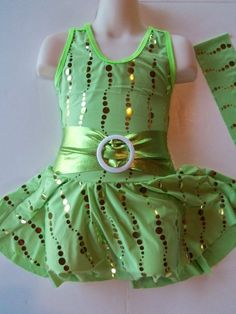 SKATING DRESS Lime Green & Gold Ice Figure Skate Costume CHILD S, only $40