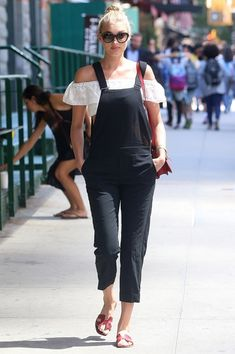 Into The Black: summer black trend - Elsa Hosk in black dungarees