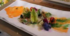 Masaharu Morimoto's Red Snapper 2-Ways with Garden Vegetables from his appearance on Simply Ming - food as art.