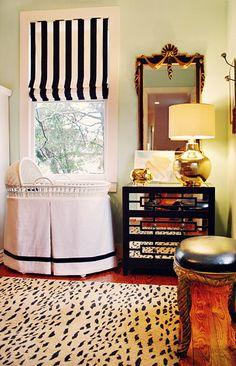 Vintage inspired nursery, Stripes, Wicker Bassinet, Antique Mirror, Mirrored Dresser, Gold Lamp, Bassinet Skirt, Gold Piggy Bank