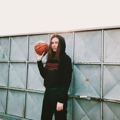 Girl in Eastern Europe playing basketball for an urban style photoshoot. #girl #urbanphotography #eastern #europe #basketball #strangerthings #stranger_things # light #photography #hoodie #sunset #urban