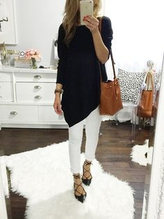 black and white outfit, lace up flats