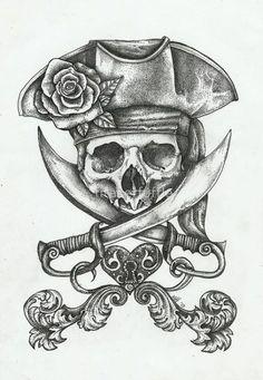 Pirate Dreams by fitakerfuffle - Piraten Tattoo - Kunst Tattoos, Tattoo Drawings, Tattoo Sketches, Pirate Skull Tattoos, Pirate Hat Tattoo, Pirate Hat Drawing, Pirate Tattoo Sleeve, Nautical Tattoo Sleeve, Totenkopf Tattoos