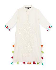 Long Embroidered Silk Tassel-Trim Dress, White, Size 4-6, Girl's, Size: 6 - Hemant and Nandita