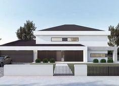 Projekt domu FX-31 257,31 m² - koszt budowy - EXTRADOM Exterior Design, Interior And Exterior, Modern Family House, Bedroom Bed Design, Architect House, My House, Building A House, House Plans, Villa