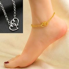 Fashion Jewelry Candid Silver Plated Double Chain Bead Love Hearts 23cm Anklet Anklets