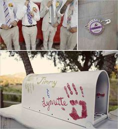 ITS A SIGN!! My name is on that mailbox! I've been planning on doing the mailbox thing for the cards at my wedding. And I think he's gonna have a grape soda pin too :)