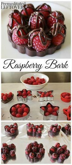 Quick and Easy Chocolate Raspberry Bark Recipe. It just requires 2 ingredients: … Quick and Easy Chocolate Raspberry Bark Recipe. It just requires 2 ingredients: dark chocolate and fresh raspberries. use cookie cutter to make fun shapes! Candy Recipes, Sweet Recipes, Dessert Recipes, Simple Recipes, Fun Recipes, Dessert Ideas, Dinner Recipes, Just Desserts, Delicious Desserts