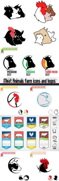 Meat Animals farm icons and logos