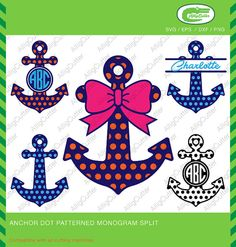 Anchor Patterned Dot Circle With Bow Monogram Frame by Alligcutter