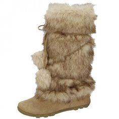 Women's faux suede mid-calf faux fur pom pom winter boots camel ...