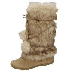 Women's faux suede mid-calf faux fur trim pom pom side zippered ...