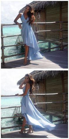 Sashes Evening Dresses, Light Blue A-line/Princess Evening Dresses, Long Light Blue Evening Dresses, High-Low Prom Dresses V-neck Asymmetrical Prom Dress/Evening Dress Blue Homecoming Dresses, Pretty Prom Dresses, High Low Prom Dresses, V Neck Prom Dresses, Blue Evening Dresses, Light Blue Dresses, A Line Prom Dresses, Cheap Prom Dresses, Trendy Dresses