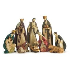 9pc Resin Nativity 14 inch w/ removable Baby Jesus | The Catholic Company