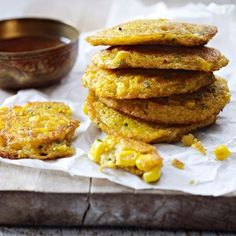 thai spiced sweetcorn fritters with chilli dipping sauce                                                                                                                                                                                 More