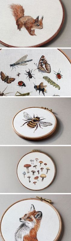 Embroidered Mushrooms, Animals, and Other Forest Creatures by Emillie Ferris