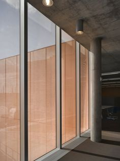 See. Des Moines Public Library, Des Moines Iowa by David Chipperfield.  The triple-glazed panels incorporate a sheet of expanded copper mesh between the outer panes.  2006.