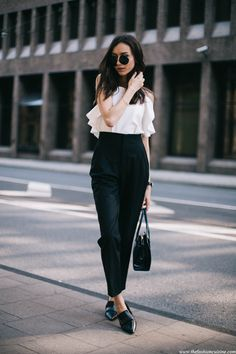 ruffled top and high waist pants with loafers